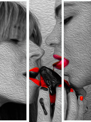 Photograph - Chocolate Kiss-tryptych by JD Mims