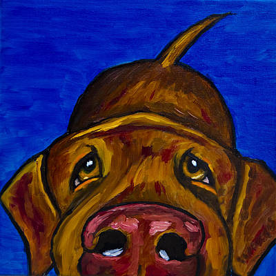 Retriever Painting - Chocolate Lab Nose by Roger Wedegis