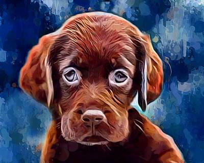 Chocolate Labrador Retriever Digital Art - Chocolate Lab Pup by Scott Wallace
