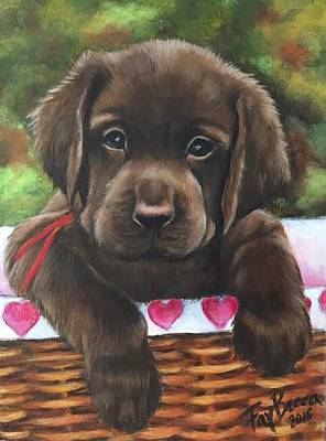 Painting - Chocolate  Lab Puppy by FayBecca Designs
