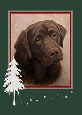 Painting - Chocolate Labrador Portrait Christmas by Amy Reges