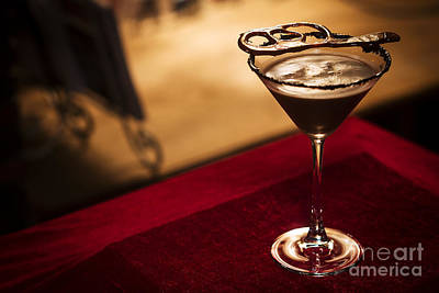 Martini Royalty-Free and Rights-Managed Images - Chocolate martini cocktail drink in bar by Jacek Malipan