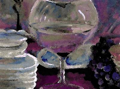 Wine-glass Painting - Chocolate Pie And Wine by Lisa Kaiser