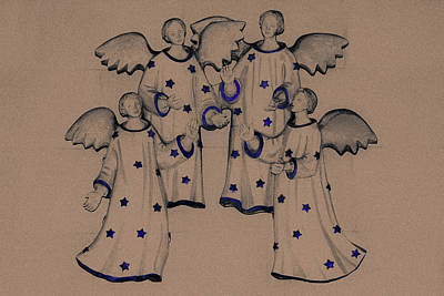Wings Drawing - Choir Of Angels by Joy Lions