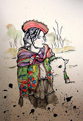 Cholita Y Llama Original by Carolina Villa