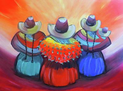 Machu Picchu Painting - Cholitas Del Peru by Jorge Carrillo