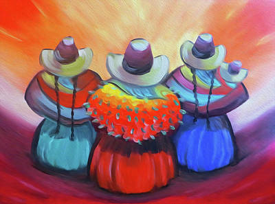 Painting - Cholitas From Peru by Jorge Carrillo