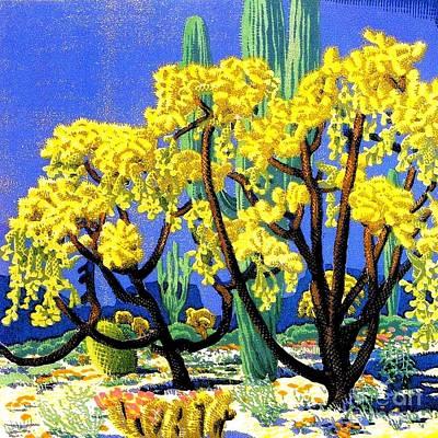 Reproductions Mixed Media - Cholla And Sahuaro Cactus by Pg Reproductions