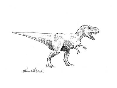 Tyrannosaurus Rex Dinosaur T-rex Ink Drawing Illustration Original by Karen Whitworth