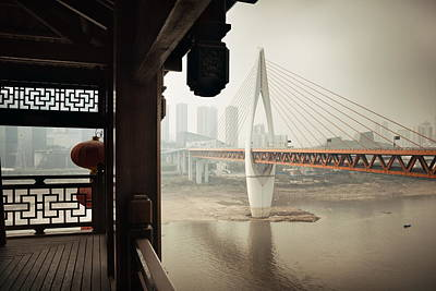Photograph - Chongqing Bridge At Hongyadong by Songquan Deng