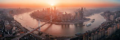 Photograph - Chongqing Urban Architecture Sunset by Songquan Deng