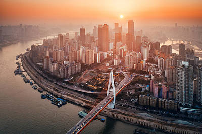 Photograph - Chongqing Urban Buildings Aerial Sunset by Songquan Deng