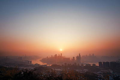 Photograph - Chongqing Urban Buildings Sunset by Songquan Deng