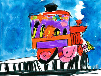Painting - Choochoo Train by Gina Barba Age Five