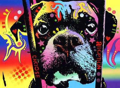 Boxer Dog Painting - Choose Adoption Boxer by Dean Russo