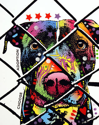 Bulls Painting - Choose Adoption Pit Bull by Dean Russo