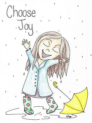 Rainy Day Drawing - Choose Joy Girl by Emily Page