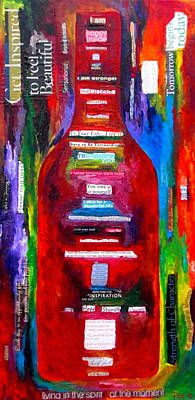 Wine-bottle Painting - Choose Strength by Patti Schermerhorn
