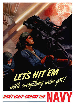 Us Navy Painting - Choose The Navy -- Ww2 by War Is Hell Store