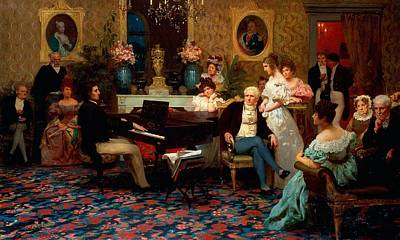 Gathering Painting - Chopin Playing The Piano In Prince Radziwills Salon by Hendrik Siemiradzki