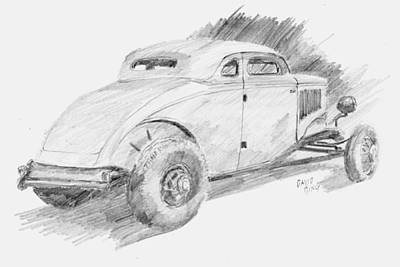 Drawing - Chopped Coupe Sketch by David King