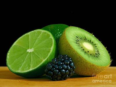 Photograph - Chopped Limes Kiwi Berry On Table by R Muirhead Art