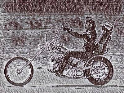 Chopper Drawing - Chopper Art Drawing From Easy Rider by Pd