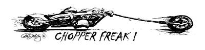 Chopper Drawing -  Chopper Freak Cartoon Print by Peter McCoy