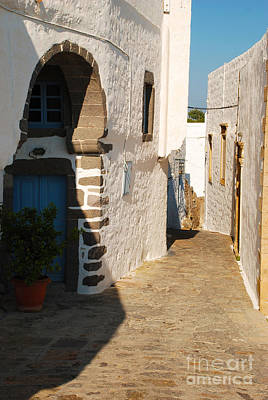 Greek Photograph - Chora Greece Alley On Patmos Island by Just Eclectic
