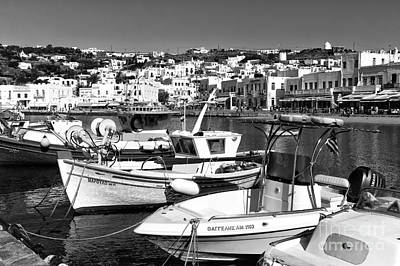 Photograph - Chora Old Port Mono by John Rizzuto