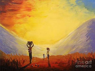 Malawi Painting - Chores @ Sunrise by Nisty Wizy