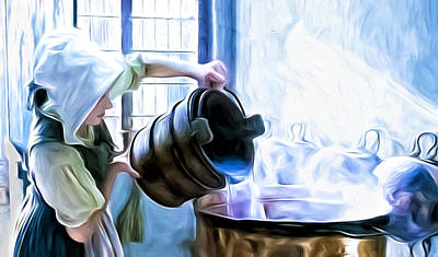 Chores Of A Chambermaid Art Print by Tony Meaney