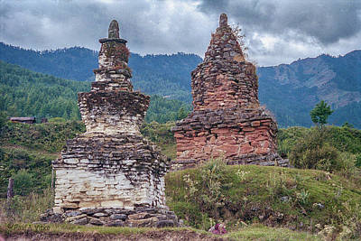 Photograph - Chortens In Bhutan.... by Paul Vitko