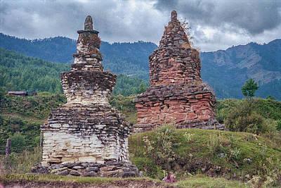 Photograph - Chortens In Bhutan.... by Paul Vitko