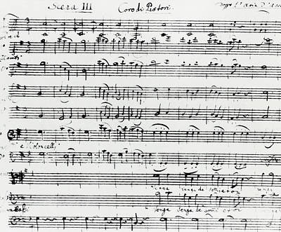 Music Score Drawing - Chorus Of Shepherds, Handwritten Score Of The Opera Ascanio In Alba by Wolfgang Amadeus Mozart