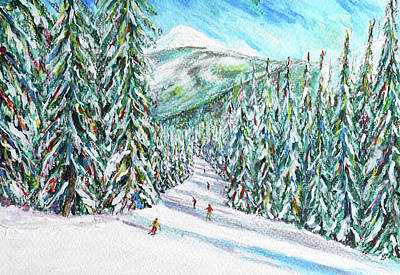 Painting - Choucas Piste Morzine Throught The Trees by Pete Caswell