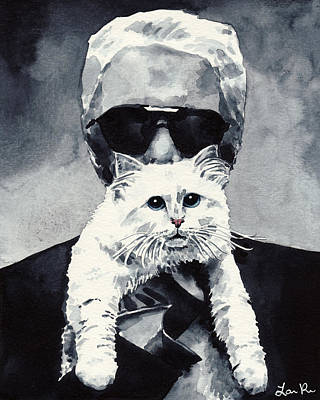 Owner Painting - Choupette Cat And Karl Lagerfeld by Laura Row