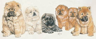 Sporting Mixed Media - Chow Chow Puppies by Barbara Keith