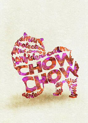 Chow Chow Watercolor Painting / Typographic Art Art Print