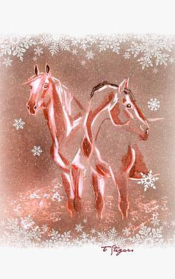 Painting - Christmas Friends II by Tarja Stegars
