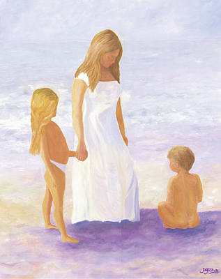 Painting - Children On The Beach by Joy Fahey