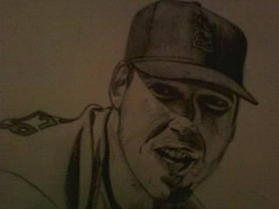 St. Louis Cardinals Drawing - Chris Carpenter by Jeff Clark