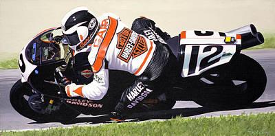 Chris Carr Harley-davidson Vr1000 Superbike Print by Jeff Taylor