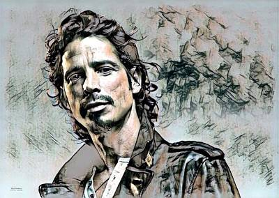 Soundgarden Digital Art - Chris Cornell Illustration  by Scott Wallace