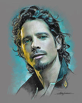 Colored Pencil Portrait Drawing - Chris Cornell by Michael Shifflett