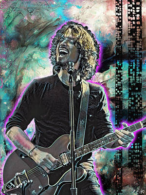 Stone Temple Pilots Painting - Chris Cornell - Outshined by Bobby Zeik