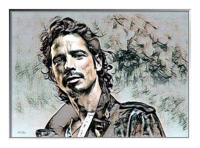 Soundgarden Digital Art - Chris Cornell Print  by Scott Wallace