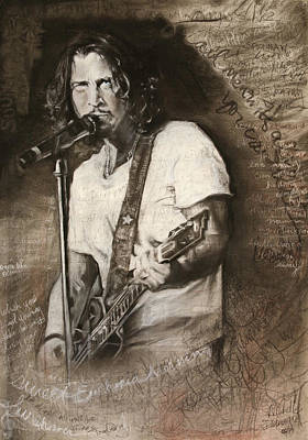 Musicians Drawings Rights Managed Images - Chris Cornell tribute with lyrics Royalty-Free Image by Michelle Flanagan
