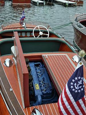 Photograph - Chris Craft With Open Hatch And Motor by Michelle Calkins