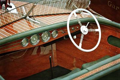 Photograph - Chris Craft With White Steering Wheel by Michelle Calkins